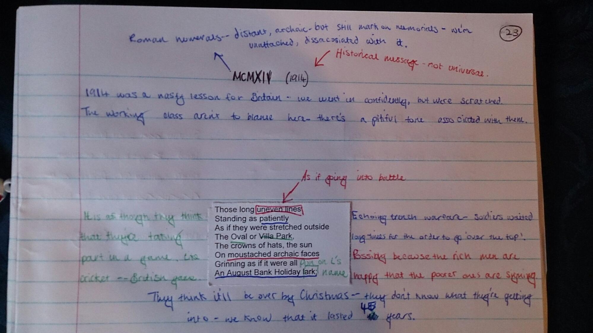 mcmxiv analysis essay